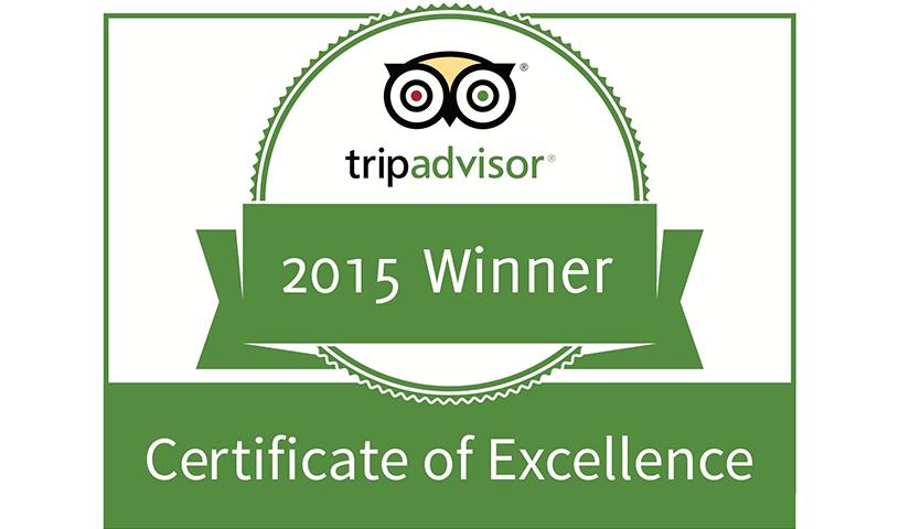 Ganador del Certificado de Excelencia 2015 de TripAdvisor